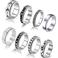 WAINIS 8 Pcs Stainless Steel Spinner Ring for Women Mens Fidget Band Rings Moon Star Celtic Stress Relieving Wide…