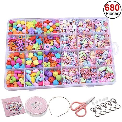 e30c2d1d0e46 Abalorios Plástico Sasairy Abalorios Cuentas DIY Kit hacer Pulsera y Collar  Juguetes Educativos para Niños (Colorido)