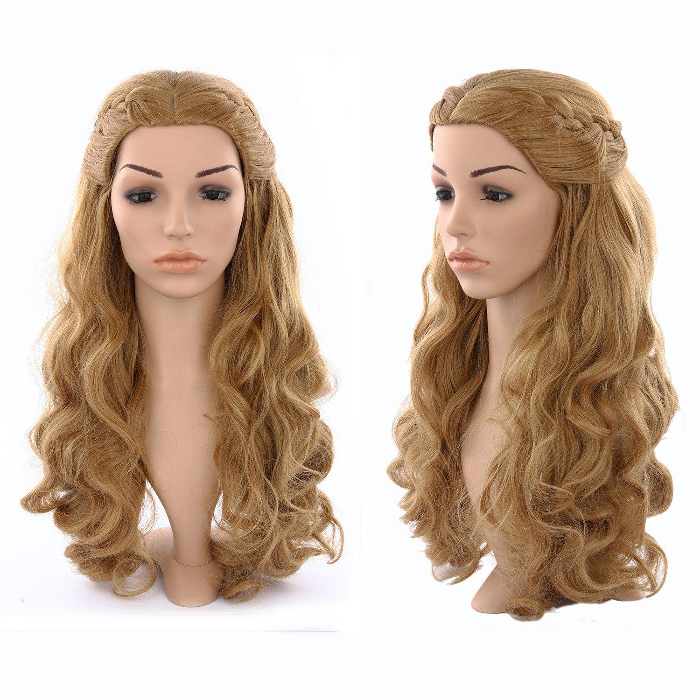 discoball de las mujeres largo rizado marrón ondulado cosplay disfraz peluca Cosplay peluca Cenicienta Fancy disfraz de peluca: Amazon.es: Belleza