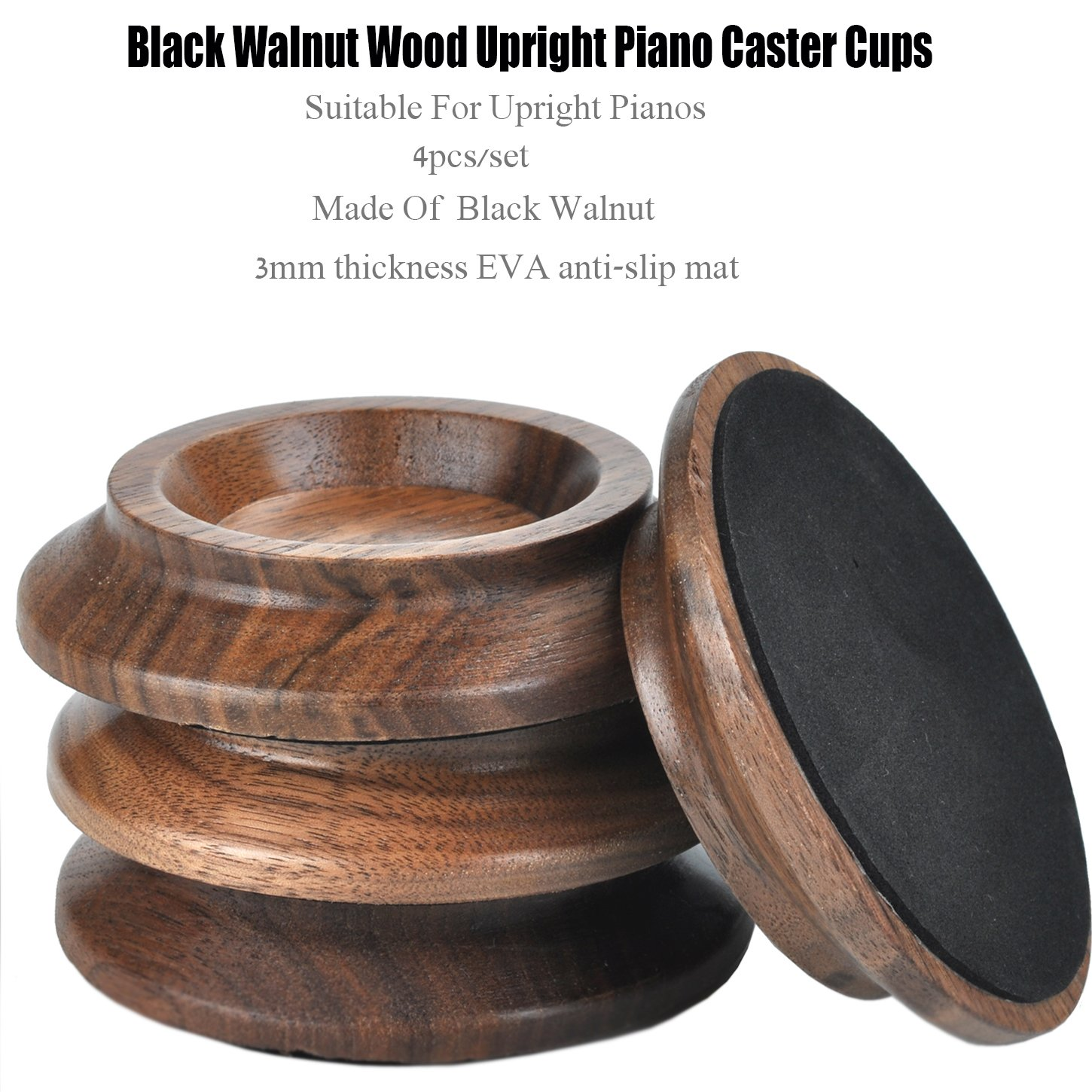 Upright Piano Caster Cups ,Solid Wood Furniture,Piano Caster Cups - Non-Slip & Anti-Noise Foam (black walnut) by WOGOD (Image #4)