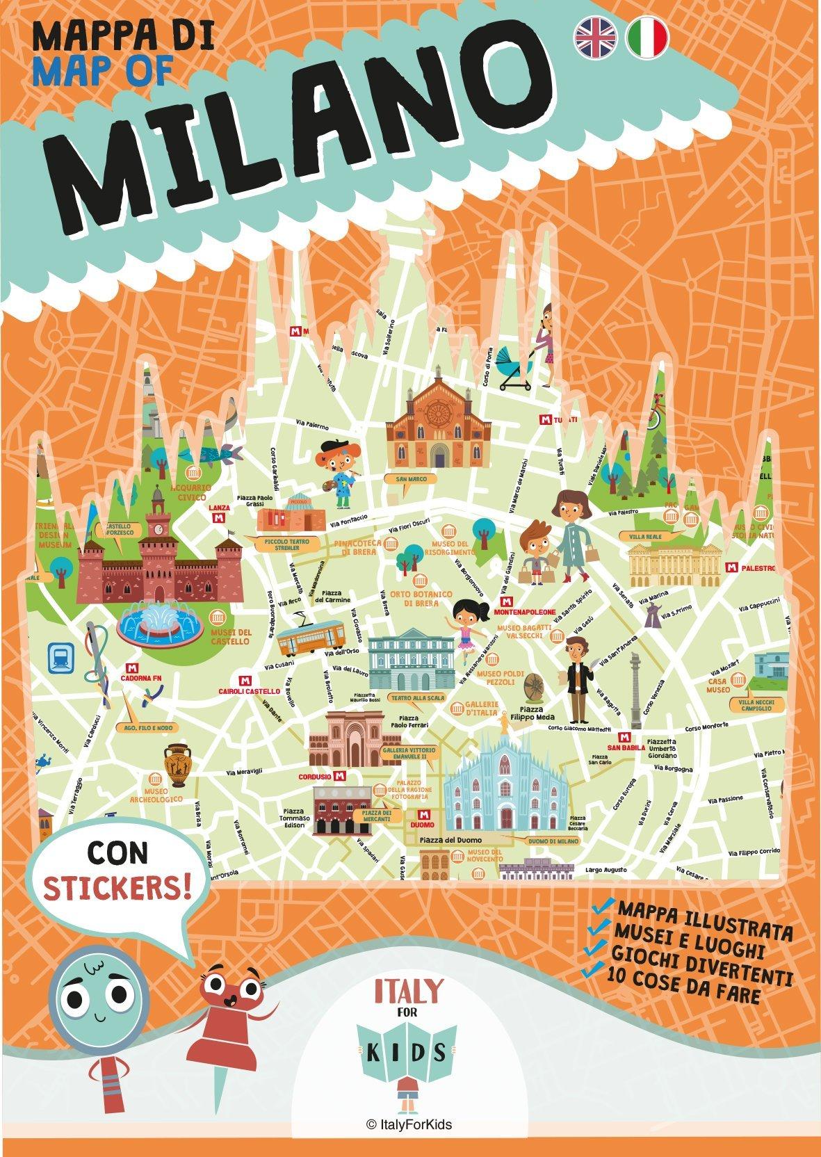 Cartina Di Milano Per Bambini.Mappa Di Milano Illustrata Ediz Italiana E Inglese Amazon It S