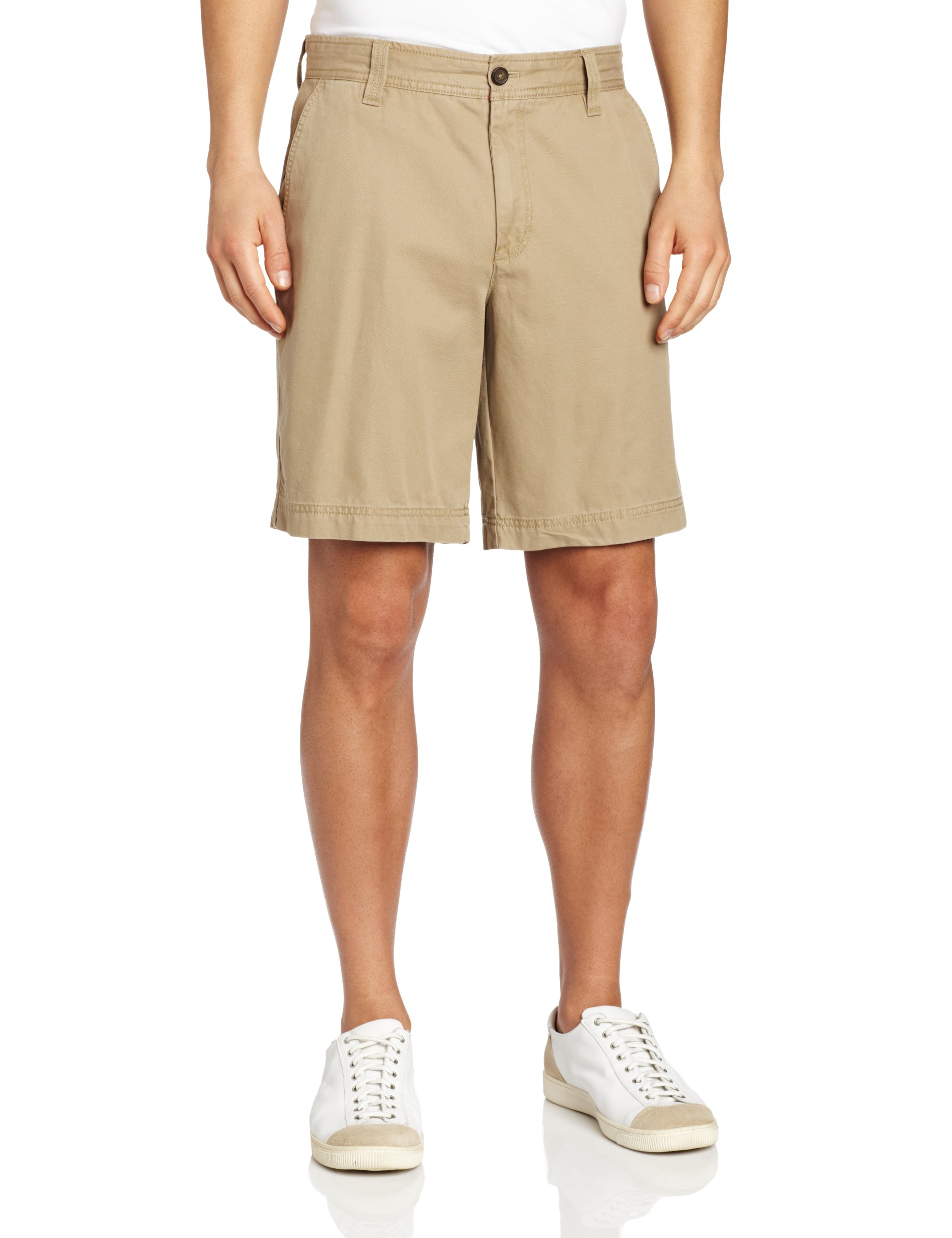 IZOD Men's Saltwater Flat Front Short, True Cedarwood Khaki, 36W