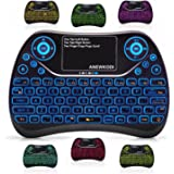 ANEWKODI Mini Wireless Keyboard, Touchpad Mouse Combo with Backlit Multimedia keys 2.4GHz USB Rechargeable Handheld…