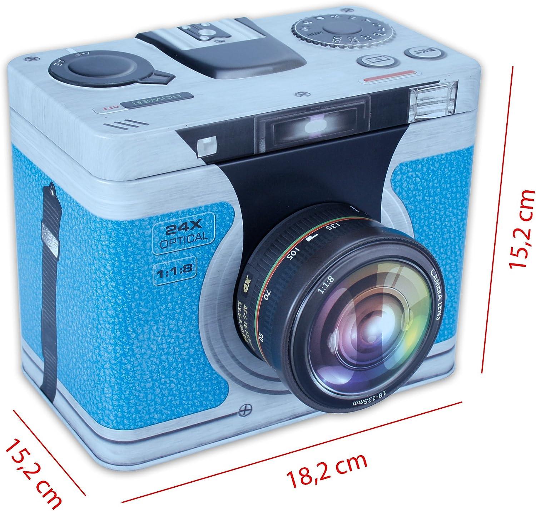 """XL Spardose SILBER /"""" mit Schl /"""" Kamera // Fotoapparat // Spiegelreflexkamera"""