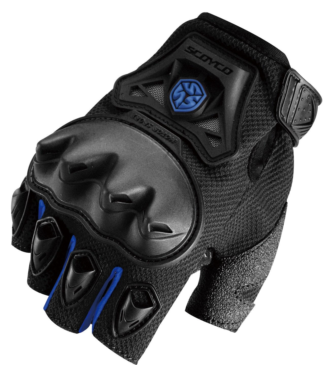 CRAZY AL'S CAMC29D Motorcycle Fingerless Gloves Sports Protective Gear Shock Resistant Padded Fingerless Safety Breathable Motorcycle Gloves Black Red Blue Green M/L/XL (Blue, L) by Crazy Al's (Image #1)