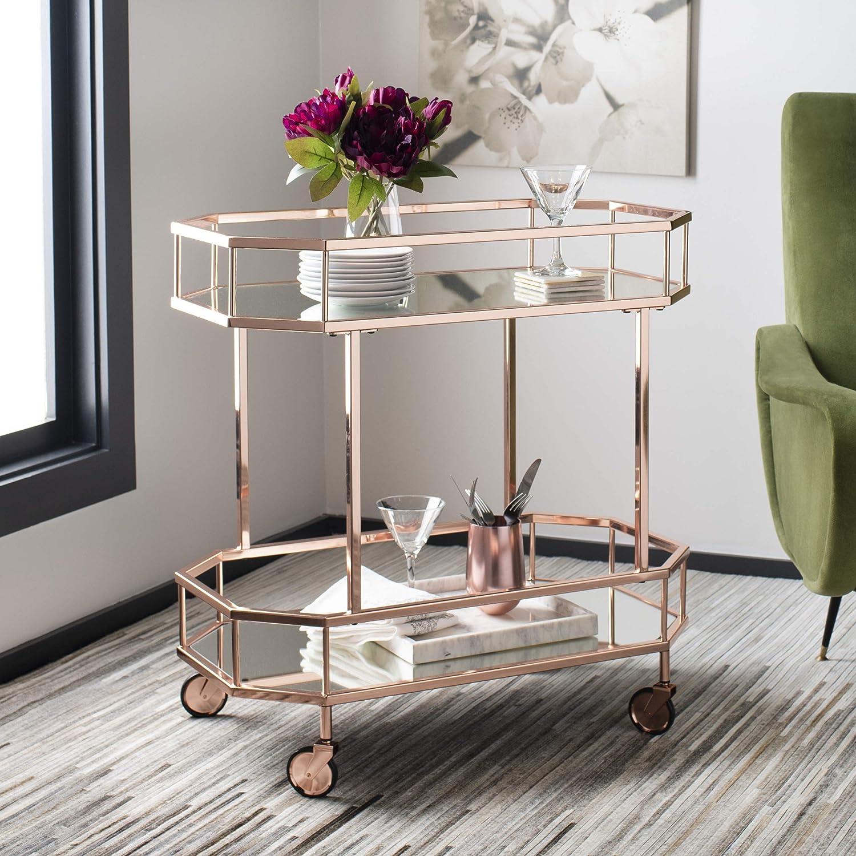 Safavieh Silva Bar Cart Rose Gold Mirror Furniture Decor Amazon Com