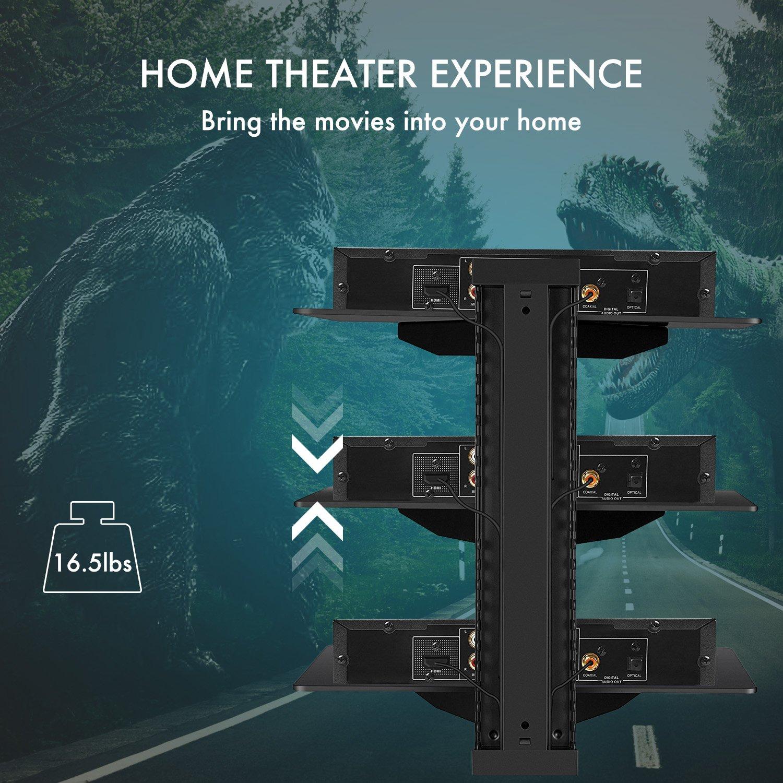 Amazon.com: Three Floating DVD DVR Shelf – 3X Wall Mount AV Shelves ...