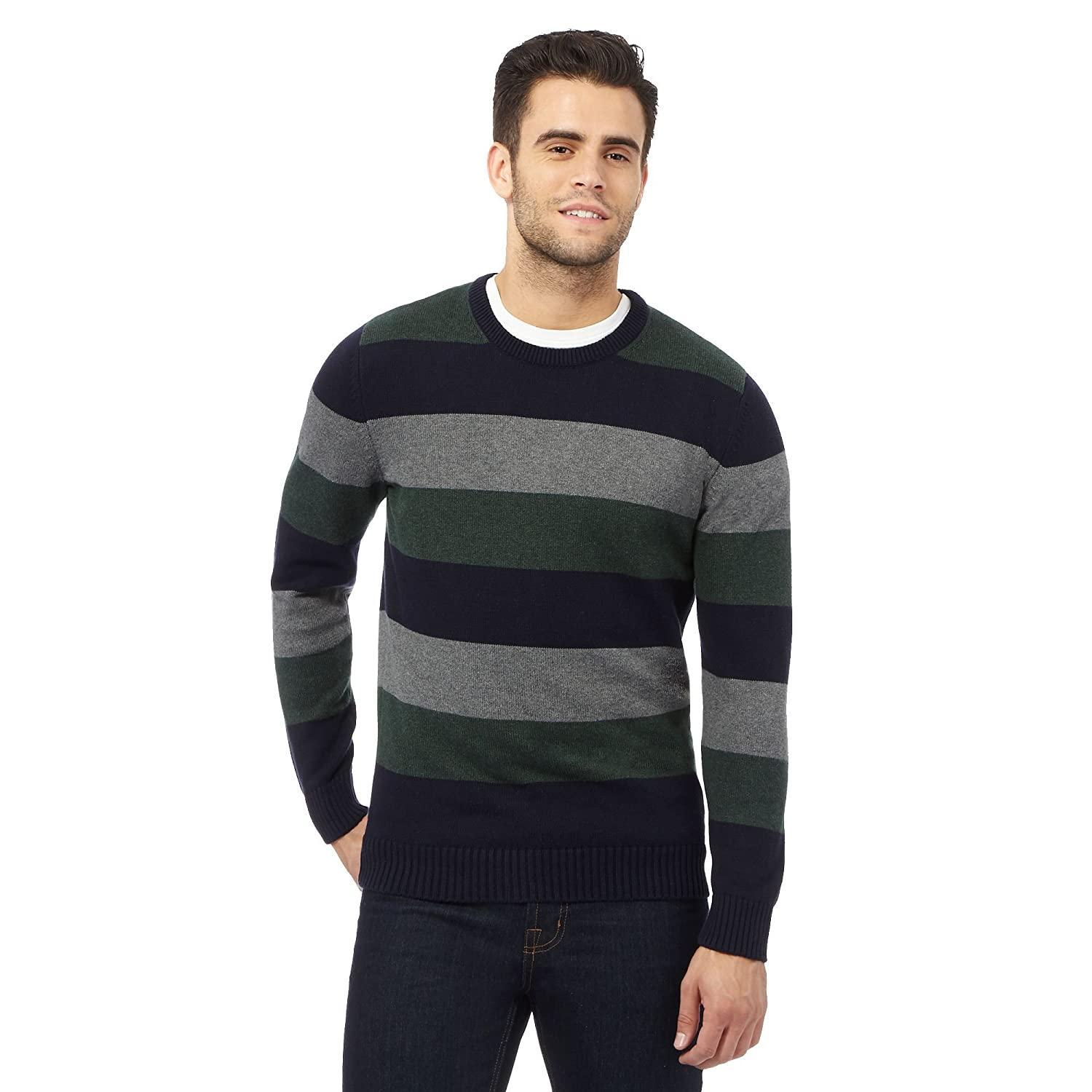 Maine New England Mens Big And Tall Multi-Coloured Striped Print Jumper
