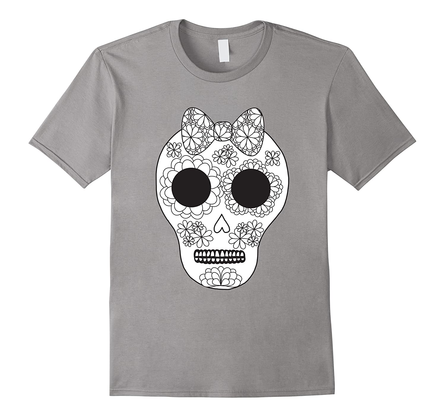 Girly Sugar Skull Day of the Dead Color Me Shirt-RT