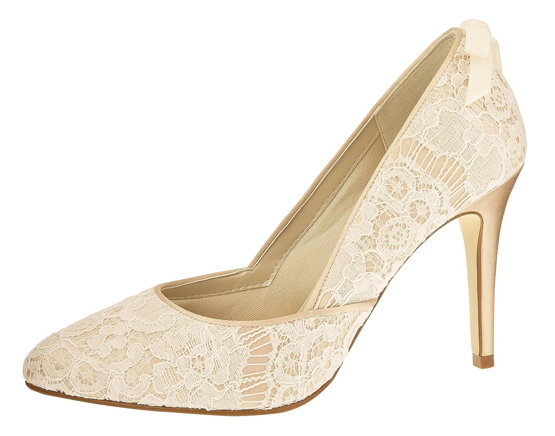 Rainbow Couture Brautschuhe Agnes - Pumps High Heels - Ivory Gold Spitze Satin