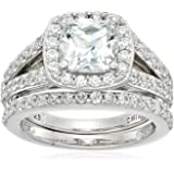 Platinum-Plated Sterling Silver Swarovski Zirconia Cushion Halo Ring Set