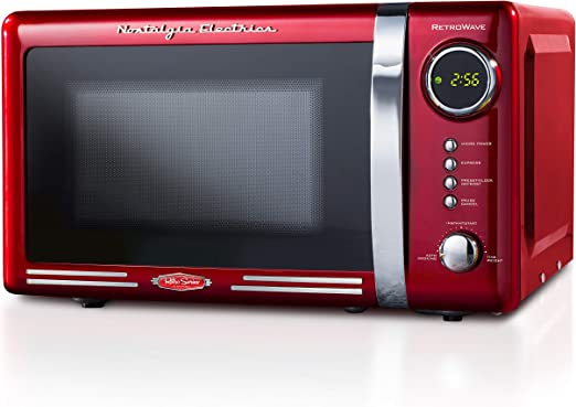 Nostalgia RMO7RR Retro 0.7 cu ft 700-Watt Countertop Microwave Oven, 12 Pre Programmed Cooking Settings, Digital Clock, Easy Clean Interior, Metallic ...