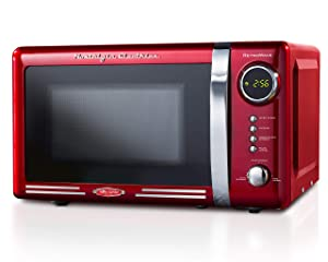 Nostalgia RMO7RR Retro 0.7 cu ft 700-Watt Countertop Microwave Oven, 12 Pre Programmed Cooking Settings, Digital Clock, Easy Clean Interior, Metallic Red
