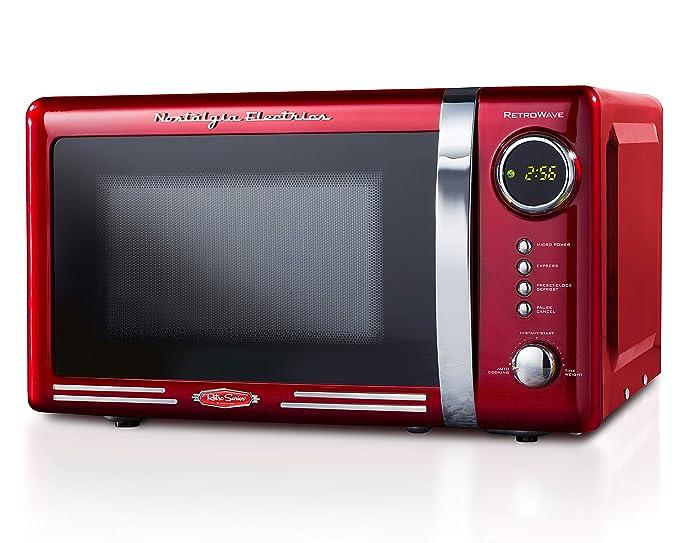 Nostalgia RMO7RR Retro 0.7 cu ft 700-Watt Countertop Microwave Oven, 12 Pre Programmed Cooking Settings, Digital Clock, Easy Clean Interior, Metallic Red