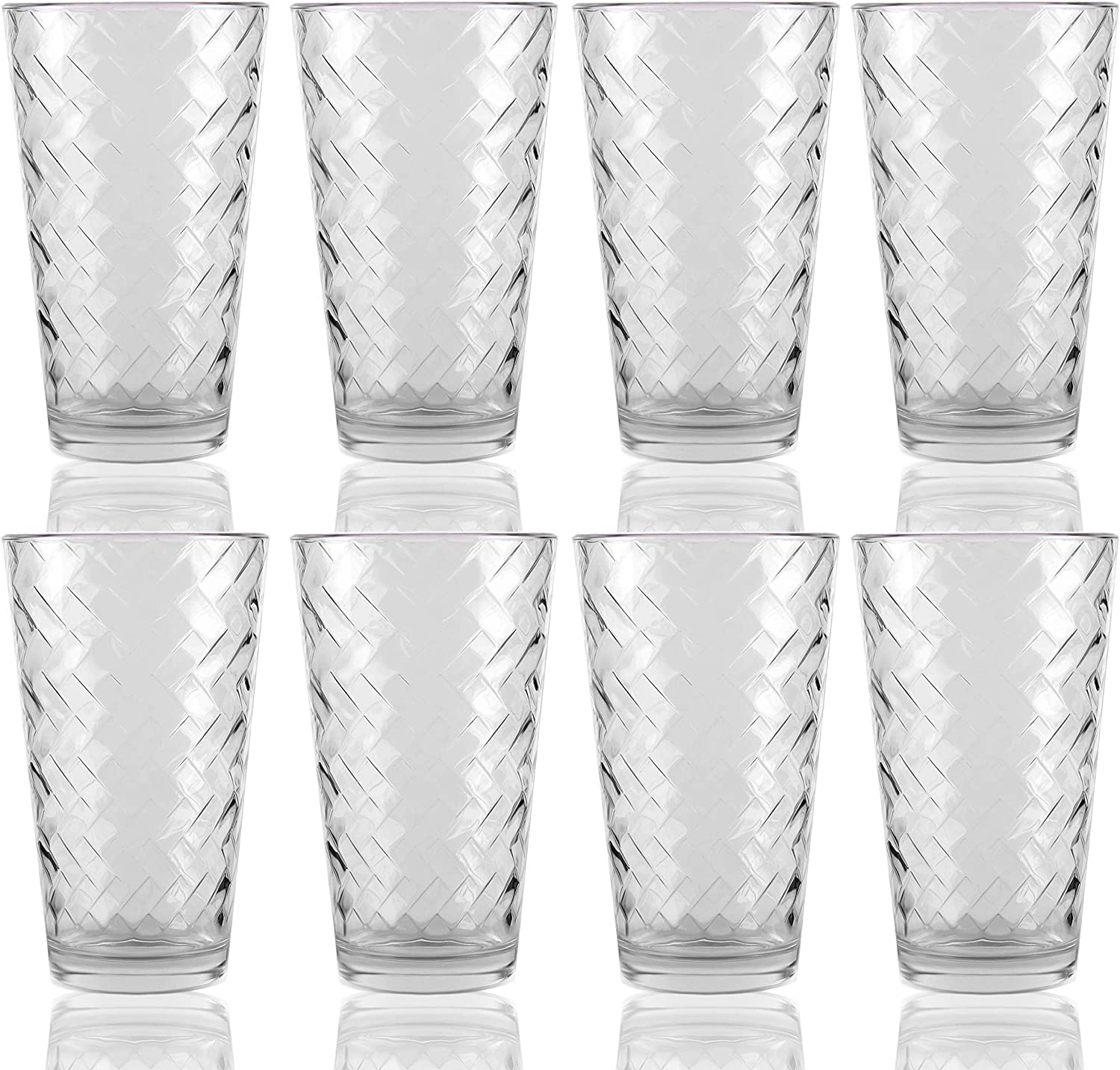 Circleware Chevron Set of 8 Tumbler Cooler Beverage Glasses Heavy Base Drinking Highball, Kitchen Cups for Water, Juice, Milk, Beer, Ice Tea, Farmhouse Decor & Gifts, 15.7 oz