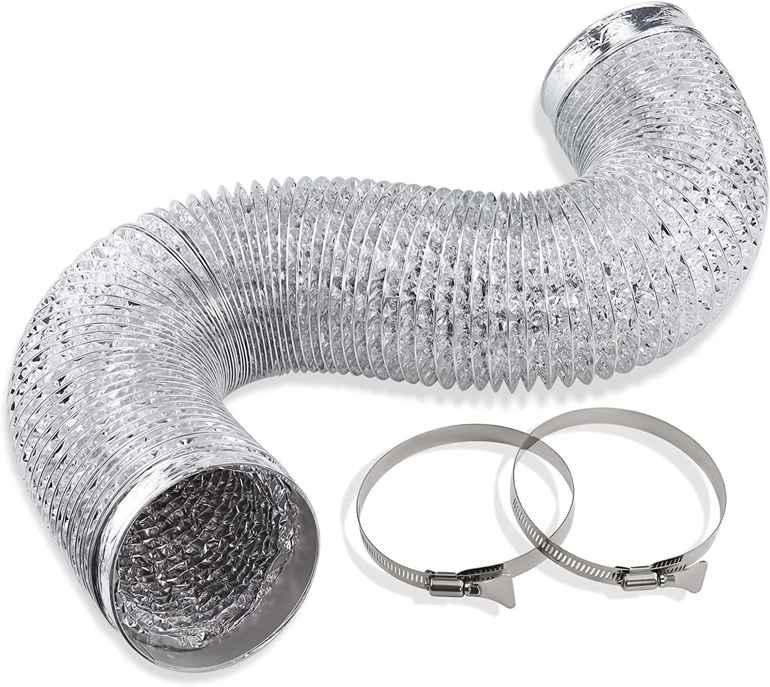 Cenipar Dryer Vent Hose-4 inch Ducting Vent Hose Flexible Aluminum Foil Non-Insulated (4 inch 8 feet) with 2 Clamps