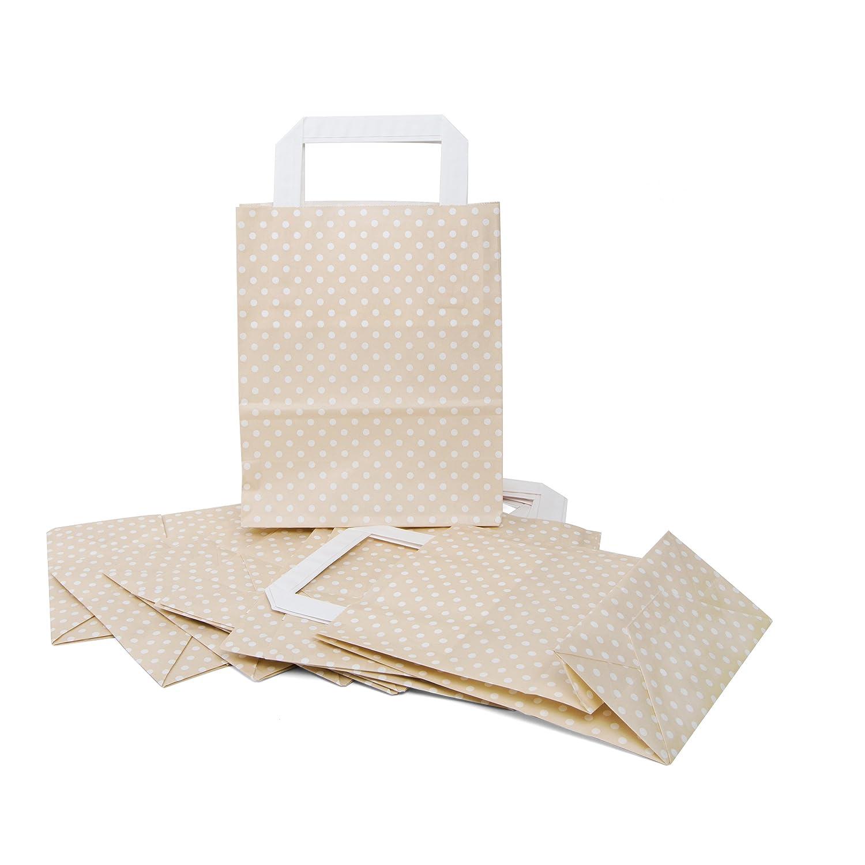Lot de 10/sacs cadeau petites poches Beige Papier de couleur cr/ème /à pois blanc avec anse 18/x 8/x 22/cm sacs de Give Away Petit cadeau emballage de cadeau Sacs cadeaux Oste rt/üten