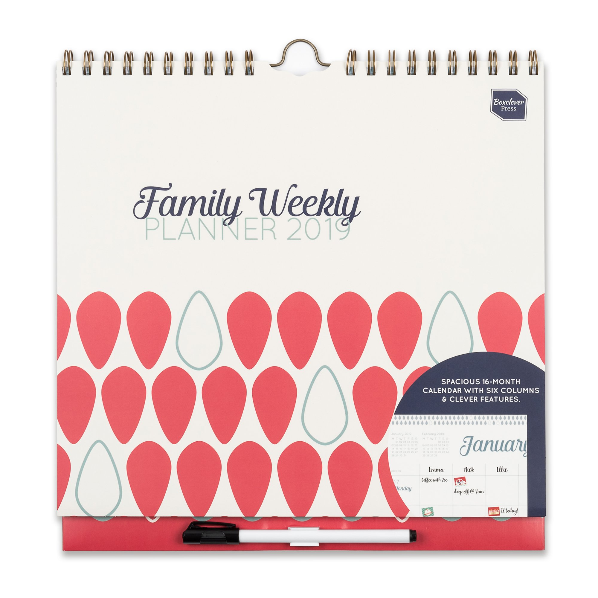 Boxclever Press Family Weekly Planner Calendar. 2018 2019 School Calendar. Academic Wall Calendar. 288 Stickers Columns/Grid Layout for up to 6 People. Tear Off Shopping Lists. Formerly Organized Mom