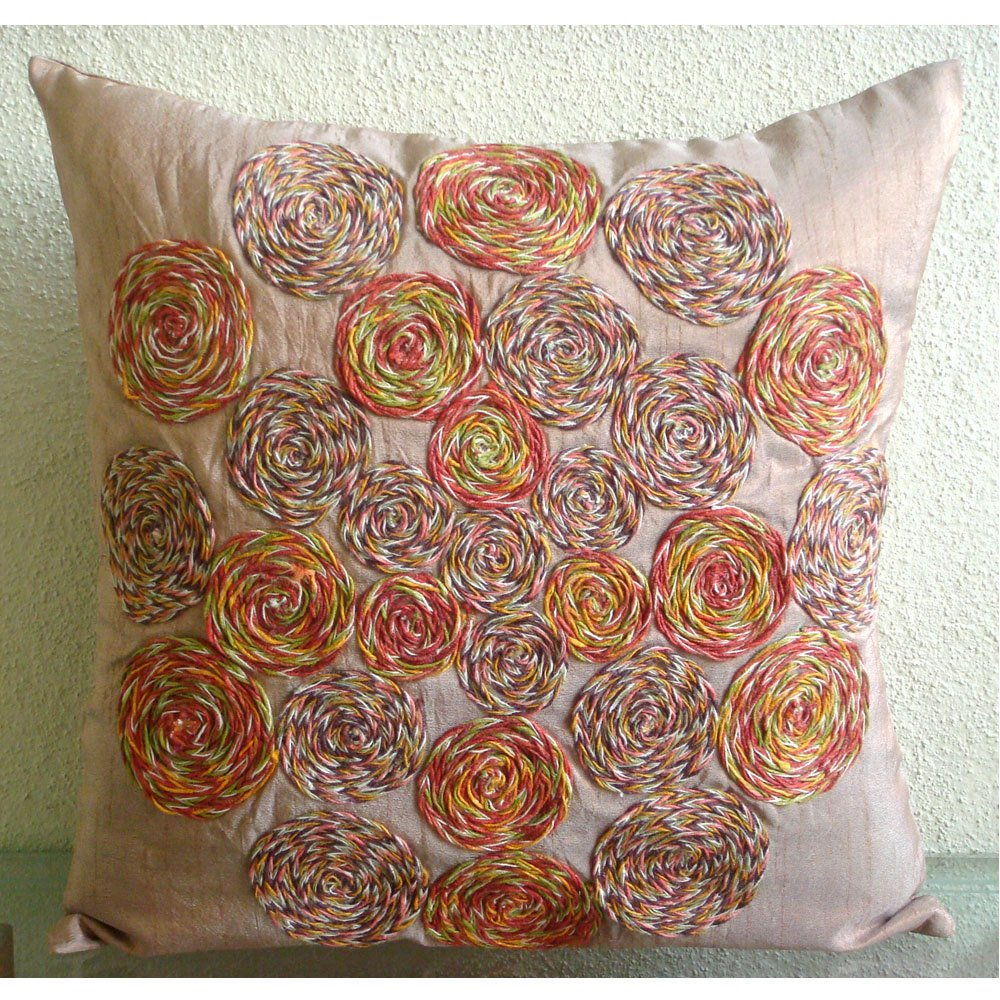 Rust Pillow Covers 16x16 inches, Designer Light Rust Pillows Cover, Colorful Spiral Jute Pillows Cover, 16''x16'' Pillow Covers, Square Silk Pillows Cover, Floral Contemporary Pillow Cases-Spring Dance by The HomeCentric (Image #1)