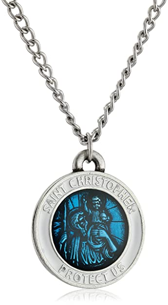 Amazon mens st christopher large blue pendant necklace 24 mens st christopher large blue pendant necklace aloadofball Choice Image
