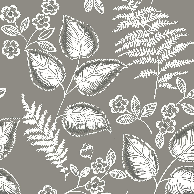 NuWallpaper NUS3143 Grey Foliage Peel & Stick Wallpaper