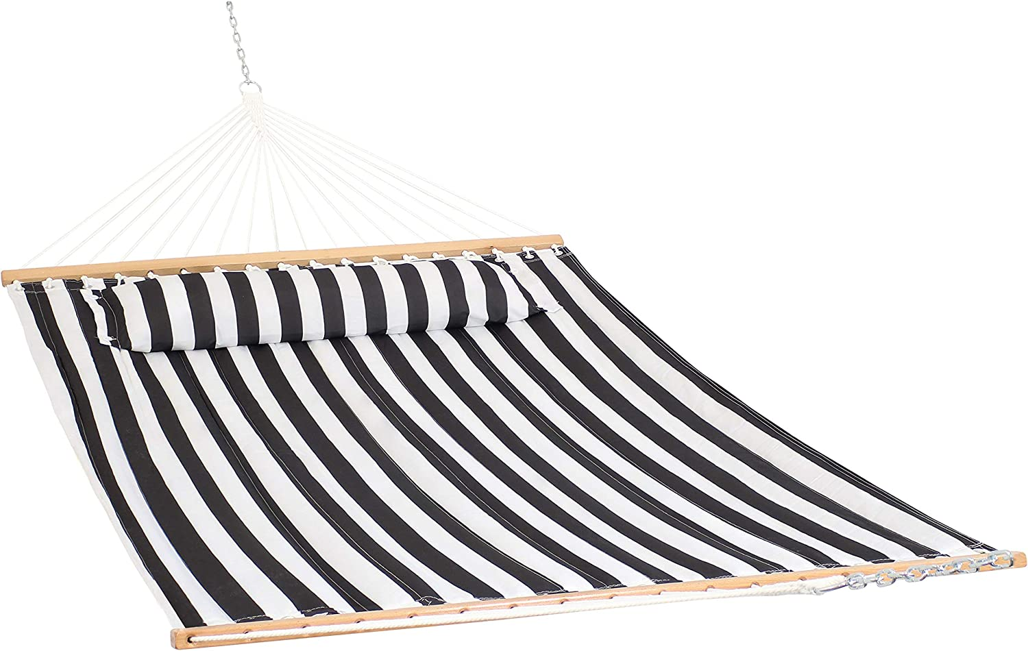 Amazon Com Sunnydaze Quilted Fabric Hammock And Pillow Two Person With Spreader Bars Heavy Duty 450 Pound Capacity Black And White Garden Outdoor