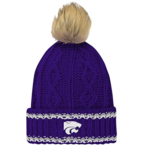 buy popular 03b18 1f555 NCAA Kansas State Wildcats Youth Girls Core Furry Pom Cable Knit Hat, Youth  Girls One Size, Regal Purple  Amazon.in  Sports, Fitness   Outdoors
