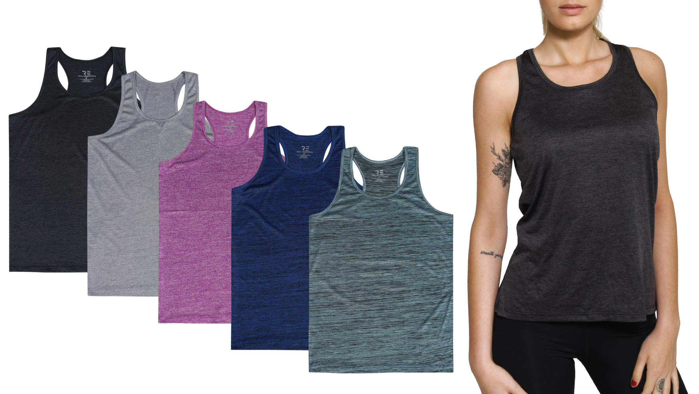 5 Pack:Women's Quick Dry Fit Dri-Fit Ladies Tops Athletic Yoga Workout Running Gym Active wear Exercise Clothes Racerback Sleeveless Flowy Tank Top - Set 1,L