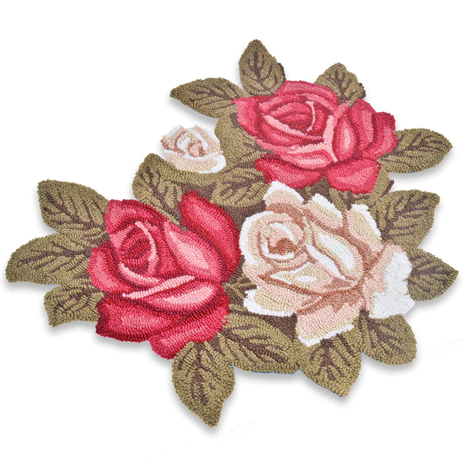 Rose Shaped Rug Charming Floral Hearth Mat With Pink Cream And