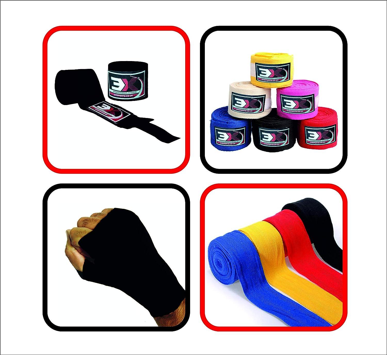 3X - Sotto guantoni/bendaggi per mani in cotone per thai box, kick boxing. Taglia M., Black 3x sports