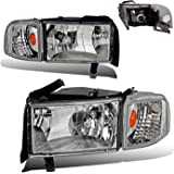 SPPC Crystal Headlights Chrome Assembly Set with Corner Light For Dodge Ram - (Pair) Includes Driver Left and Passenger Right Side Replacement Headlamp