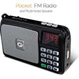 Amkette Pocket FM Portable Multimedia Speaker with USB, SD Card, Clock, and Powerful Torch