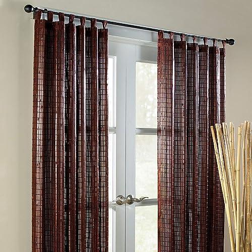 BrylaneHome Bamboo Tab-Top Panel Curtain Window Drape