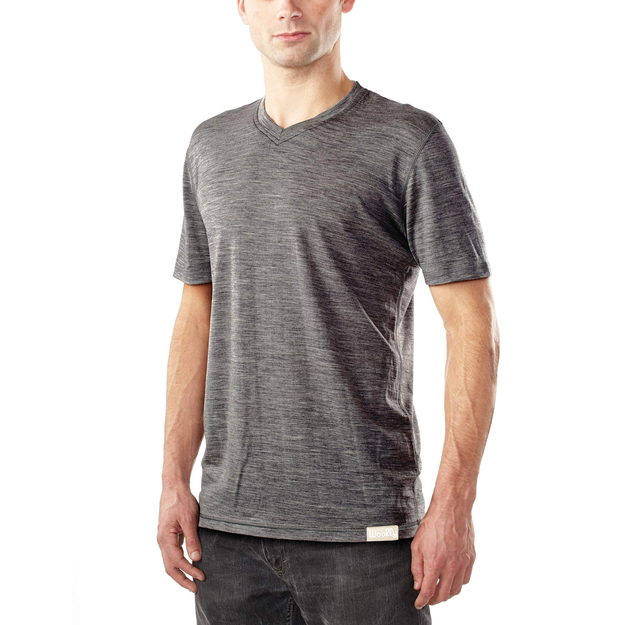 Woolly Clothing Men's Merino Wool V-Neck Tee Shirt – Everyday Weight – Wicking Breathable Anti-Odor