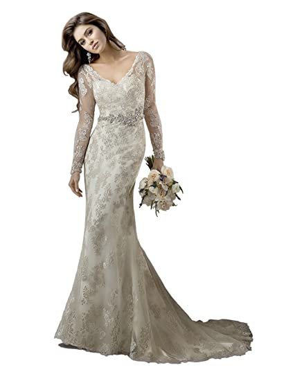 567ec2feb56d Image Unavailable. Image not available for. Color: Marry You 2015 V Neck Long  Sleeve Sheath Wedding Dress With Crystal Waistband Deep Ivory Lace