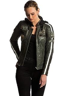 Damen Motorradjacke mit Protektoren 3XL Schwarz Gro/ße