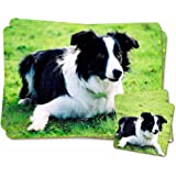 Border Collie Dog Twin 2x Placemats+2x Coasters Set in Gift Box
