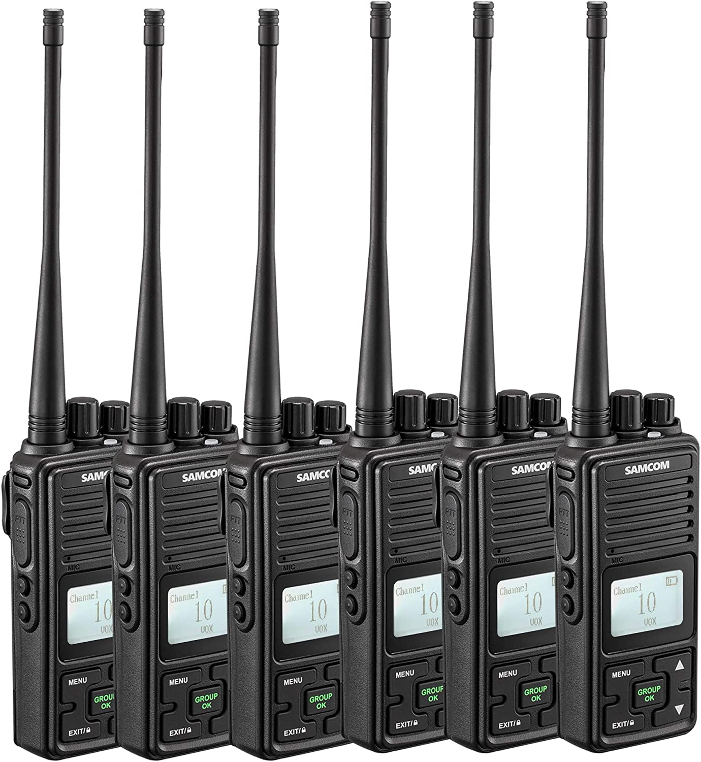 SAMCOM Two Way Radio FPCN10A 2 Watts Programmable UHF Handheld Walkie Talkie Long Range 20 Channels Double PTT LCD Display Earpieces, 6 Packs