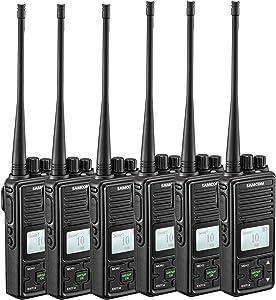 SAMCOM Two Way Radio FPCN10A 2 Watts Programmable UHF Handheld Walkie Talkie Long Range 20 Channels Double PTT LCD Display Earpieces, 6 Packs