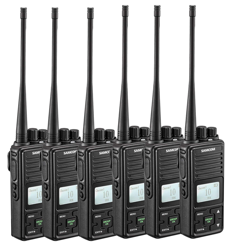 Two Way Radio, SAMCOM FPCN10A Walkie Talkie 20 Channels Wireless Intercom Group Button Portable Business Radio,UHF 400-470MHz, 2 Watt,Earpiece,Belt Clip Pack of 6