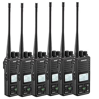 Two Way Radio, SAMCOM FPCN10A Walkie Talkie 20 Channels Wireless Intercom Group Button Portable Business Radio,UHF 400-470MHz, 2 Watt,Earpiece,Belt Clip Pack of 6