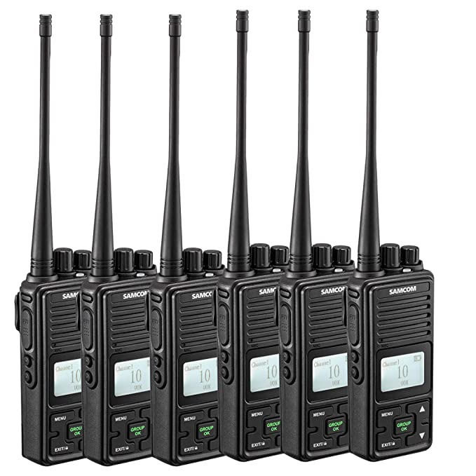 Two Way Radio, SAMCOM FPCN10A Walkie Talkie 20 Channels Wireless Intercom Group Button Portable Business Radio,UHF 400-470MHz, 2 Watt,Earpiece,Belt Clip (Pack of 6)