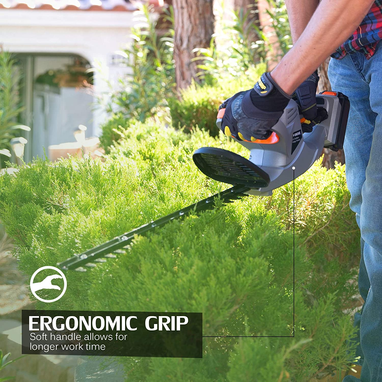 UKOKE Cordless Electric Power Hedge Trimmer with Dual-Action Blade Silver Ukoke Technology U01HT Includes 20V 2.0A Lithium Ion Battery /& Charger