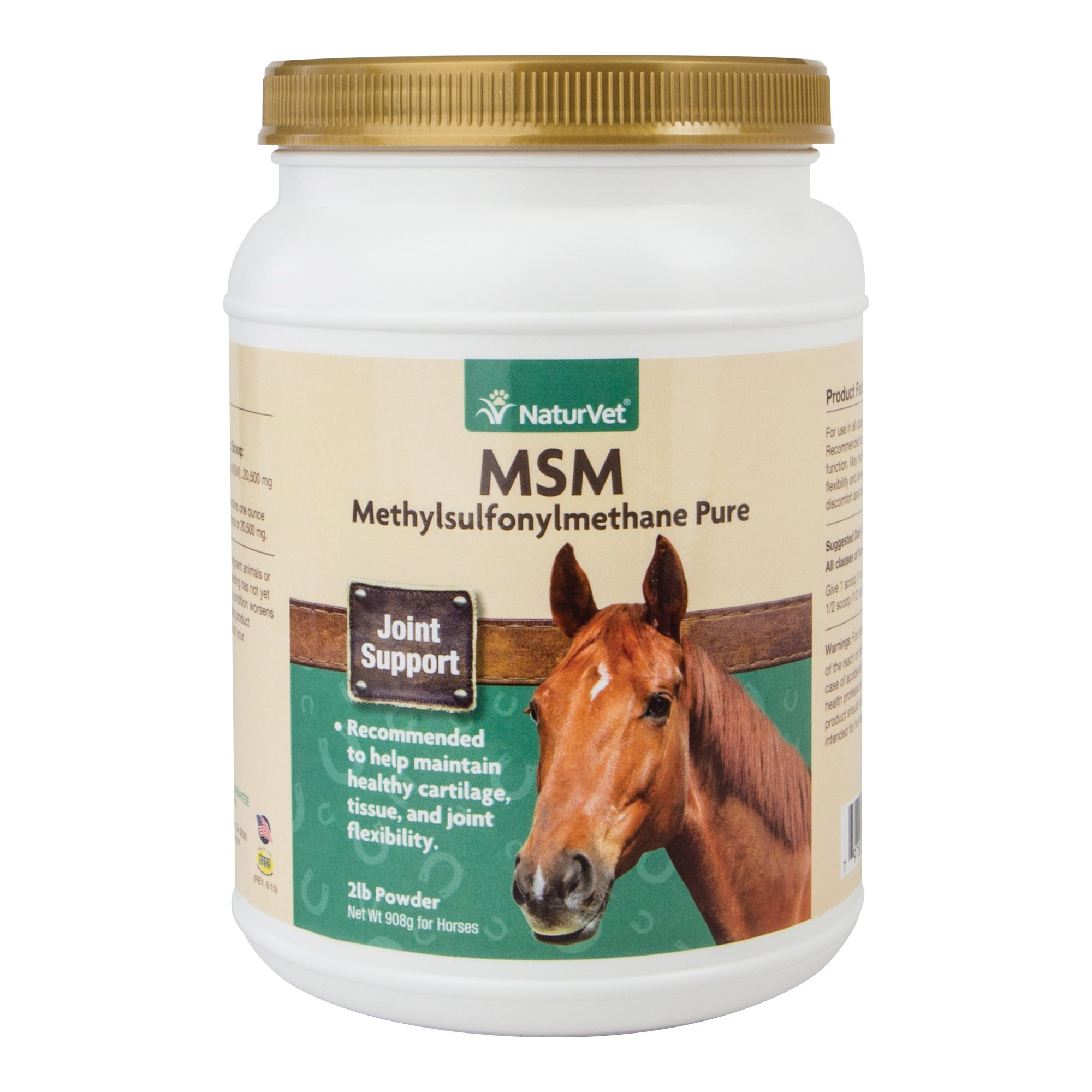 NaturVet MSM Methylsulfonylmethane Pure Joint Support for Horses, 2 lb Powder, Made in USA