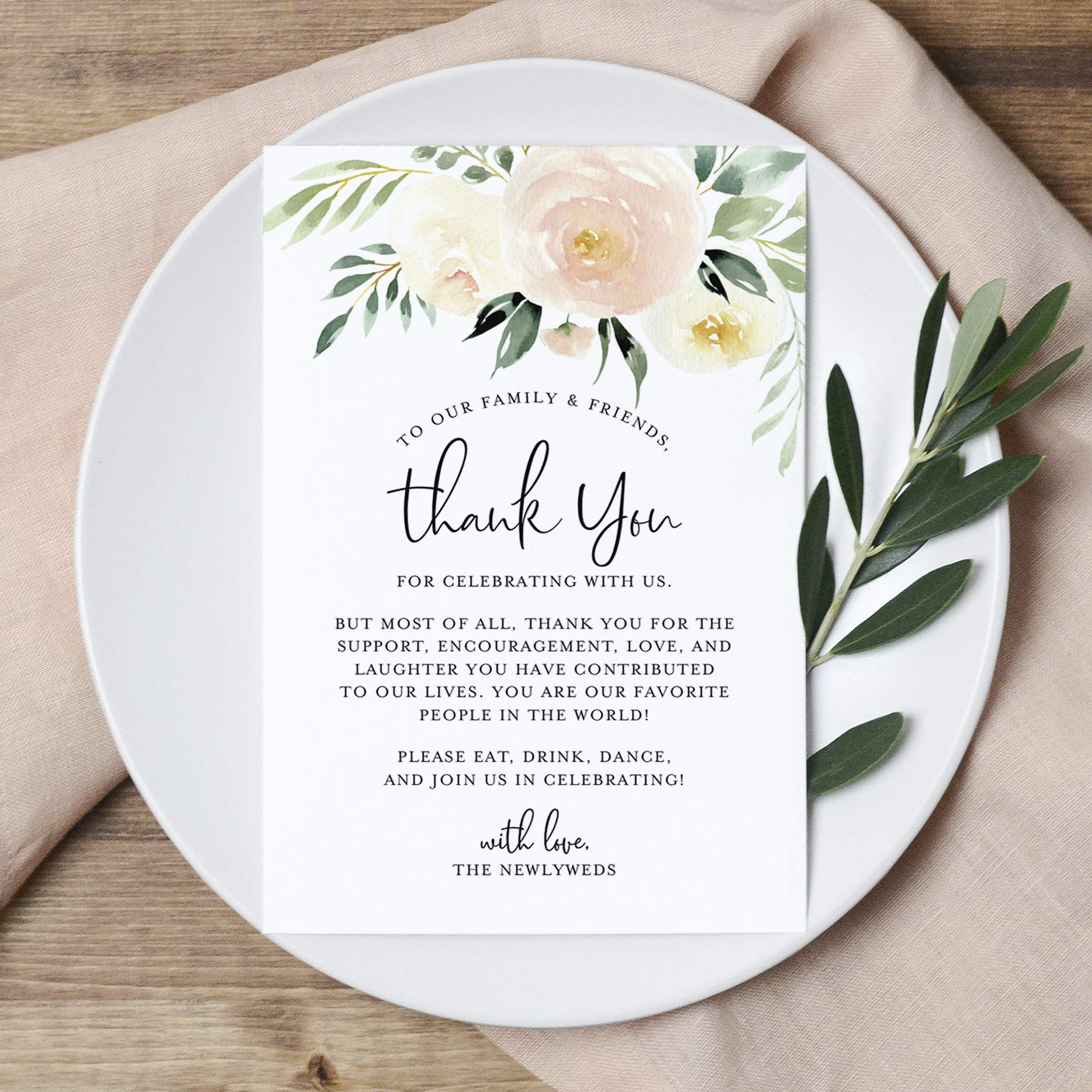 Blush Floral Wedding Thank You Place Setting Cards, 4x6 Print to add to your Table Centerpieces and Wedding Decorations -Pack of 50