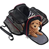 WOT I Cat Carrier Dog Carrier Soft Sided Pet Carrier Large Size Suitable for Small Dogs and Cats (Black&Red)