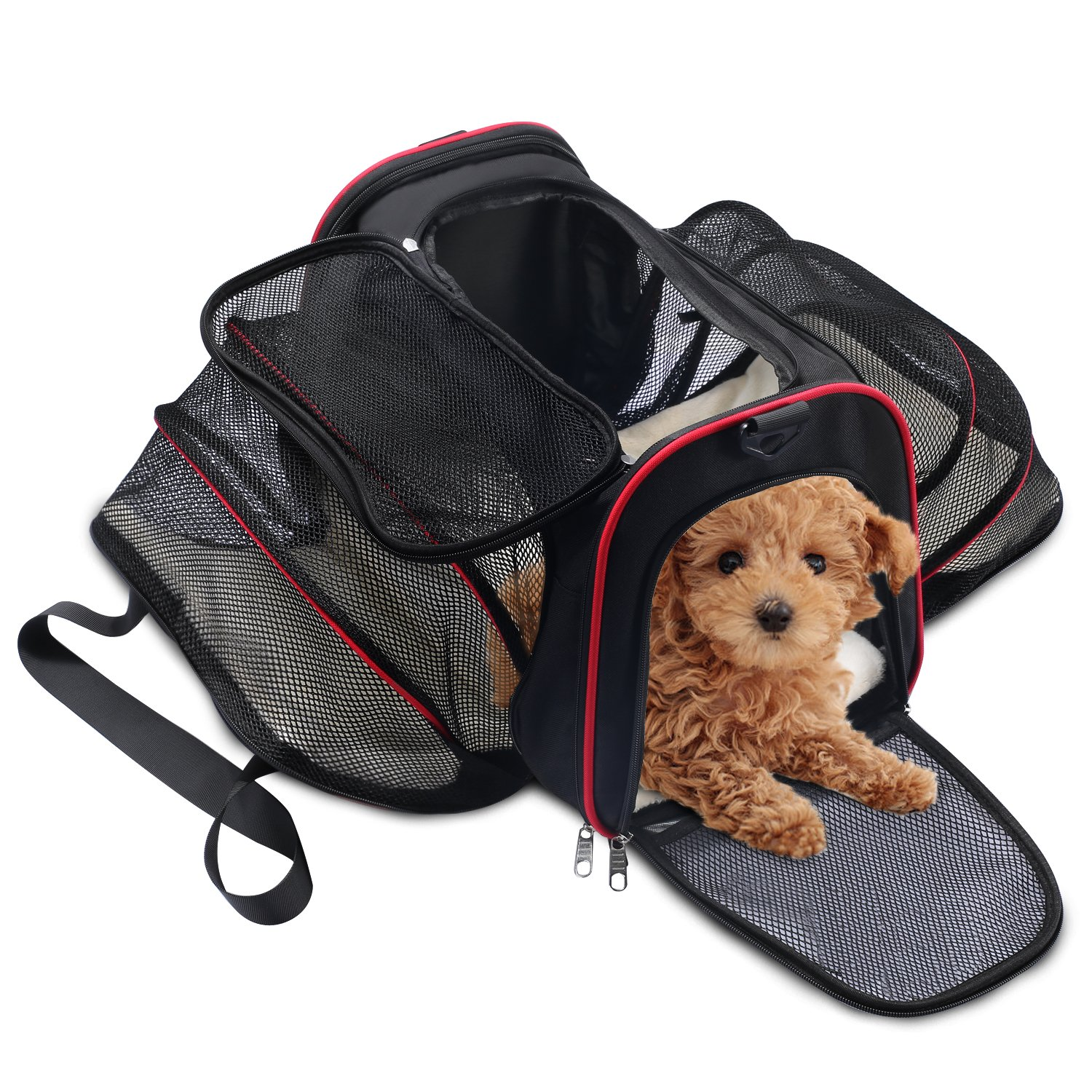 Soft Side Pet Carrier, Pet Carrier for Dogs & Cats, Expandable Soft Pet Carrier with Removable Fleece Mat for Easy Carry on Luggage, Travel Bag for Small Animals, Portable Handbag, Black