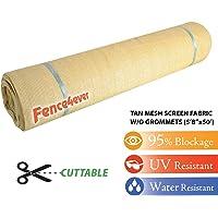 Fence4ever 5'8″ x 50ft Tan Beige Sunscreen Shade Fabric Roll 95% Uv Block