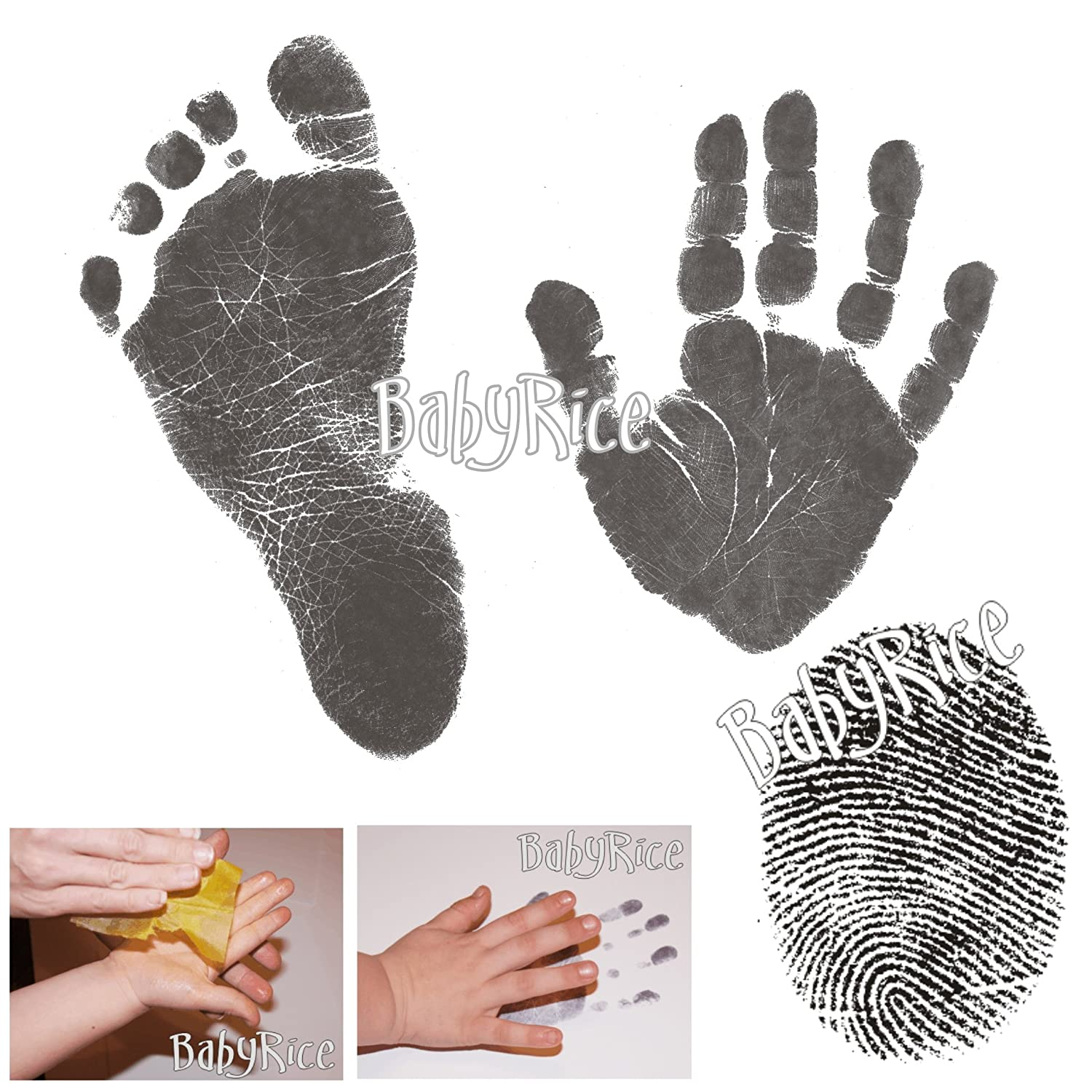 BabyRice Value Baby Handprints and Footprints Kit Black Inkless Wipes No Messy Ink! Choose pack size (2 WIPES / 8xA5 CARDS) IL.BLK.VARI