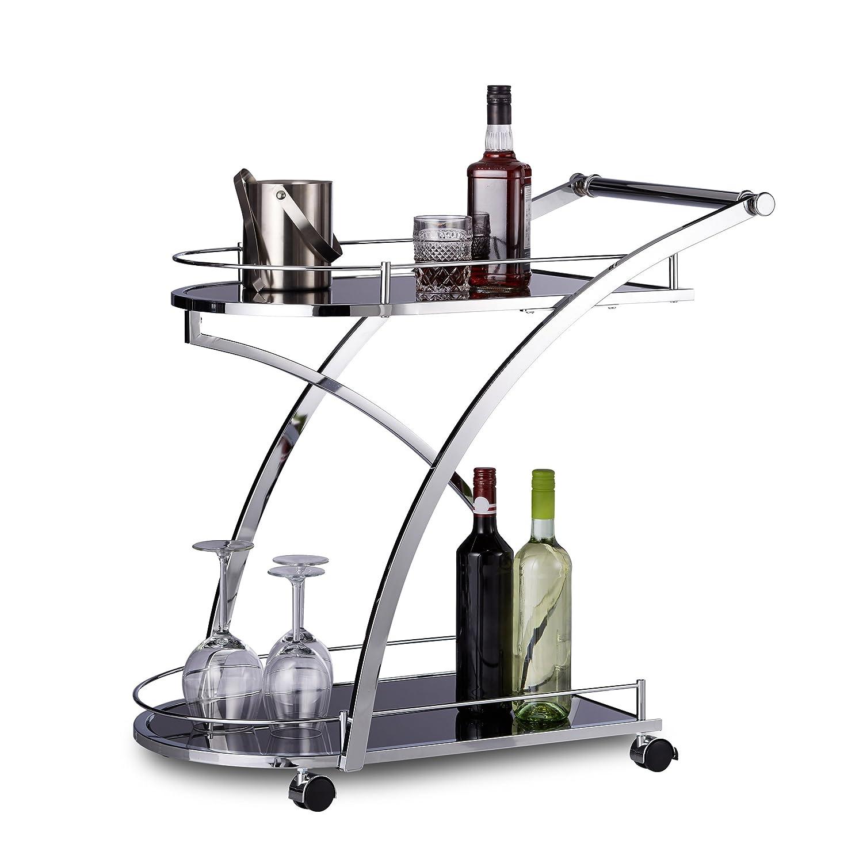 Relaxdays Chariot de service verre BARON design noir rond métal desserte cuisine HxlxP: 73 x 46 x 74 cm meuble service